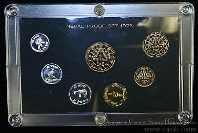 Nepal Proof Set 1973 KM#PS6 Official 7 Coin Set 8891 Minted.