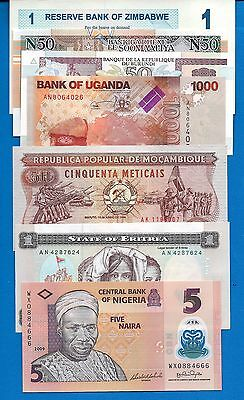 African Set-2 Seven (7) Banknote Set Uncirculated FREE SHIPPING