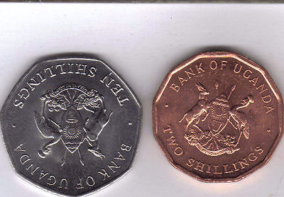 2 COINS from UGANDA - 1 & 10 SHILLINGS (BOTH DATING 1987)