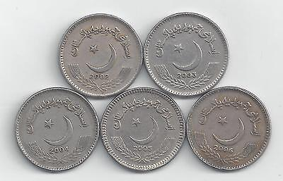 5 DIFFERENT 5 RUPEE COINS from PAKISTAN (2002-2006)