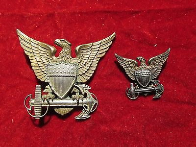 Coast Guard Officers Cap Eagle  Hat Badge set Sterling H and H  pair