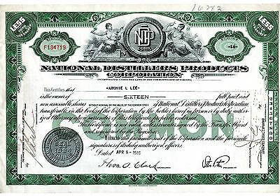 1946 national Distillers Products Corporation Stock 17 Shares Certificate -V106