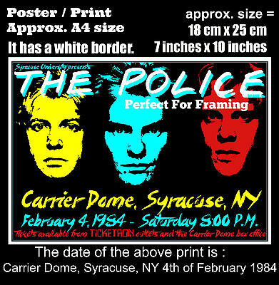 The Police live concert Carrier Dome Syracuse NY 4 February 1984 A4 poster print