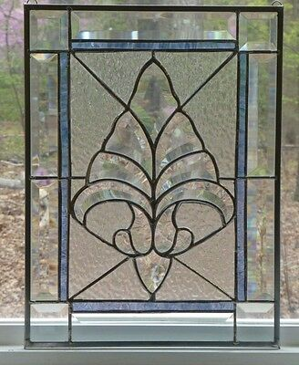 GORGEOUS! All Clear Beveled Floral Stained Glass w/Blue Accent