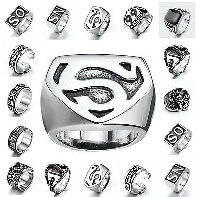 316L Stainless steel steam men punk ring gothic skull rings Men's Jewelry AU-1