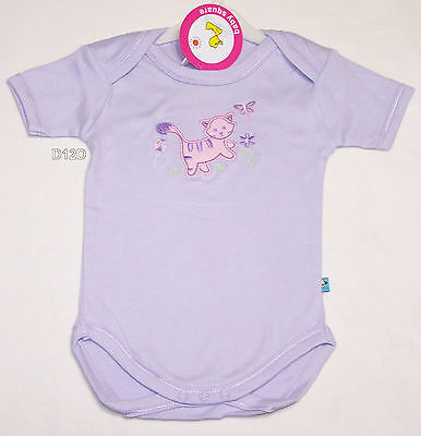 Baby Square Girls Kitten Lilac Embroidered Romper Size 1 New