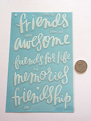 Scrapbooking No 435 - 5 Large Saying Stickers Embossed With Glitter