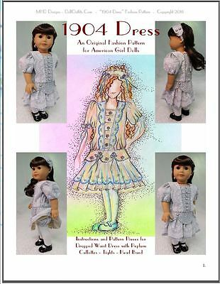 """""""1904 Dress"""" Fashion Pattern for American Girl dolls Nelly, Samantha, and others"""