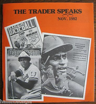 "November 1982 ""The Trader Speaks"", No. 1 Sports Hobby Magazine, 60 pages"