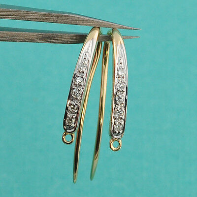 14k Solid Yellow Gold Diamond Earwires