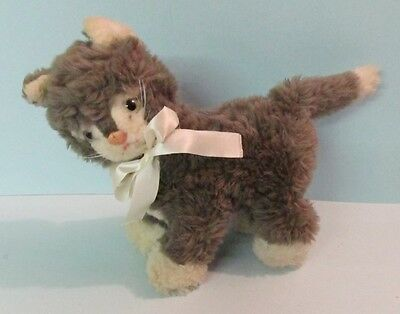 Cute Steiff Gray & White Standing Cat With Steiff Button & White Bow