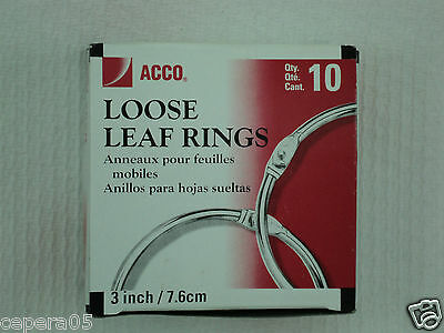 "Ten (10) ACCO 3"" 3 inch / 7.6mm Loose Leaf Rings - New Never Used"