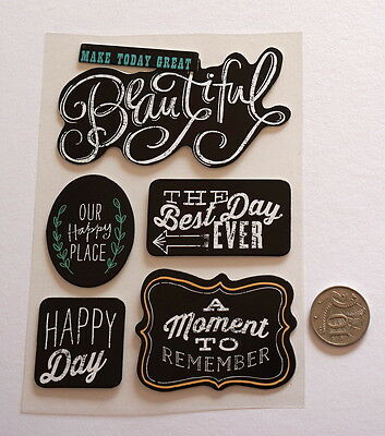 Scrapbooking No 459 - 6 Black & White Chipboard Saying Stickers - Mixed Pack