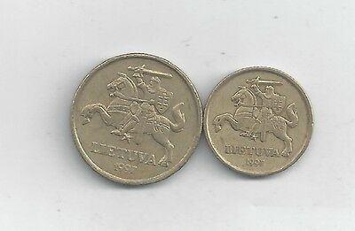 2 COINS with HORSE & RIDER from LITHUANIA - 10 & 20 CENTU (BOTH DATING 1997)