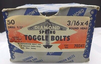 """Vintage Lot 32 Diamond Expansion Spring Toggle Bolts Round Head 3/16"""" x 4"""" USA"""