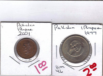 From Show Inv. - 2 NICE 1 RUPEE COINS from PAKISTAN - 1977 & 2001 (2 TYPES)