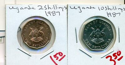From Show Inv. - 2 UNC. COINS from UGANDA - 2 & 10 SHILLINGS (BOTH 1987)