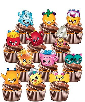 Shopkins Petkins Party Pack - 36 Edible Cup Cake Toppers Birthday Decorations