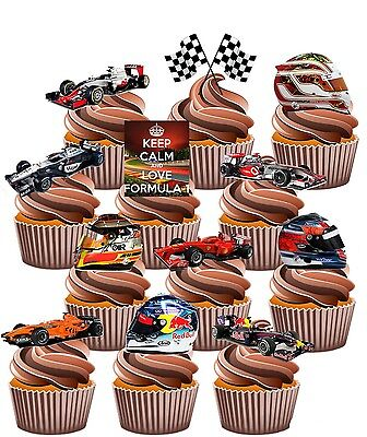 Formula 1 Themed Party Pack, Cake Decorations 36 Edible Stand-up Cupcake Toppers