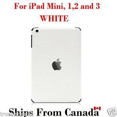 WHITE Carbon Fiber Back Vinyl Sticker for Apple iPad Mini,Mini 2 & 3 Skin Cover