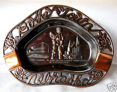 Vintage Souvenir Metal Ashtray Boys Town Nebraska Copper Finish Made in Japan