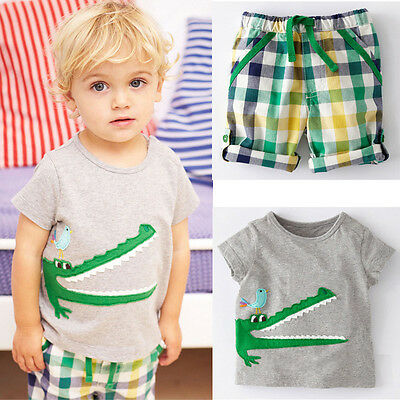 Kid Baby Boy Toddler Crocodile Short Sleeve T-Shirt Top+Pants Outfit Set Clothes