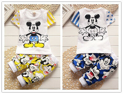 2pc cotton kids baby boys Cartoon T-shirt&pants Set Outfits summer clothing