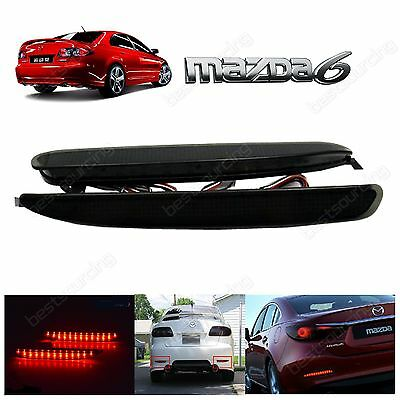 2X Rear Bumper Reflector LED Black Tail Stop Brake Light For Mazdaspeed6 Mazda 6