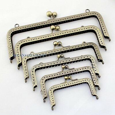 1 X Metal Square Coin Purse Frame Wallet Bag Clasp DIY Sewing 8.5cm-20cm Bronze