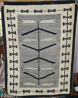 Vintage Native American Rug with owners name woven in arrow/feather pattern