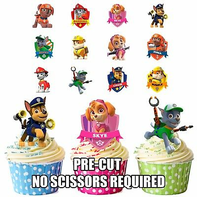 PRECUT Paw Patrol - 36 Edible Cupcake Toppers Decorations Boys Girls Birthday