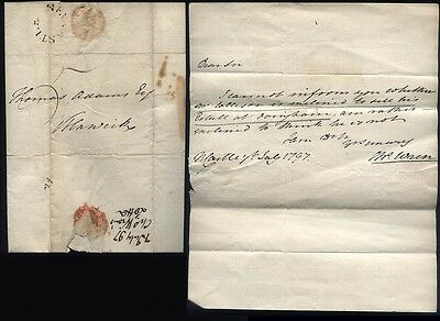 1797 NEWCASTLE Posted letter Charles Wren to Thomas Adams in Alnwick