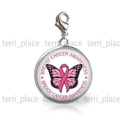 Breast Cancer Awareness 20mm Glass Top Clip On Charm Add on Bracelet Pink Ribbon