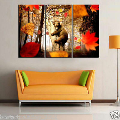 Not Framed 3pc Canvas Prints Home Deocr Wall Art Pictures Bear hug in autumn
