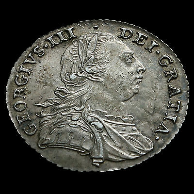 1787 George III Early Milled Silver Shilling – No Hearts – EF