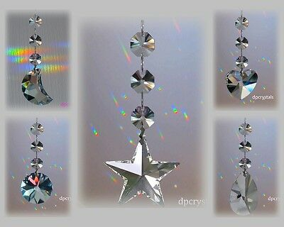 Hanging Crystal Drop Suncatcher Feng Shui Rainbow Prism with Swarovski Octatgons