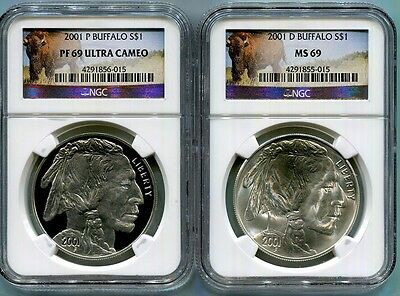 2001-P And D Buffalo  Commem Silver $1 -  Ngc Pf69 Ucam  & Ms69 - Buffalo Labels