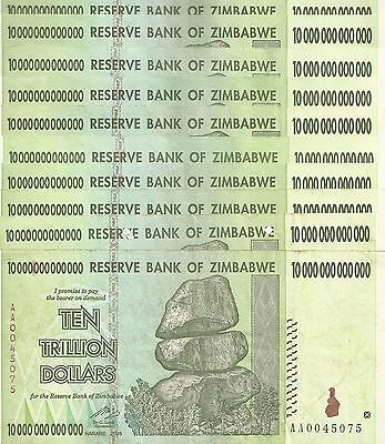 10 X Zimbabwe 10 Trillion Dollars CIRCULATED AA/2008 / $100 Trillion Series