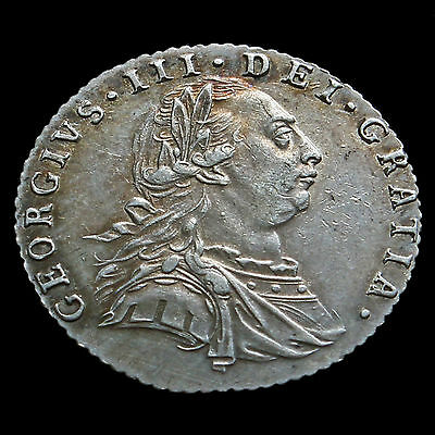 1787 George III Early Milled Silver Sixpence – No Hearts – AEF / EF