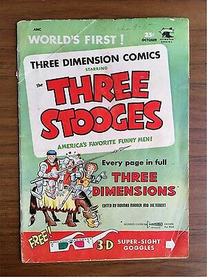 Three Stooges 3-D #2 (Solid!) Stunt Girl by Kubert; no glasses; 1953 (c#05043)
