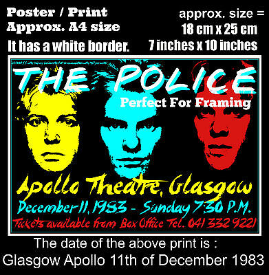 The Police live concert Glasgow Apollo 11th December 1983 A4 size poster print