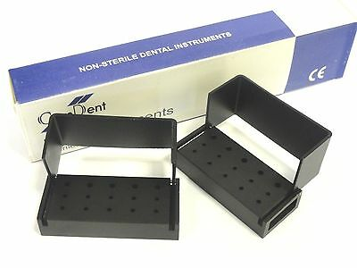 2 Dental Bur Block Holder to Hold Sterilize 10FG5RA Burs Made of Aluminium Black