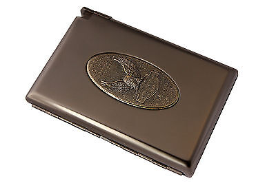 Metal Designed Cigarette Case w/ Built-in Detachable Butane Lighter-Eagle