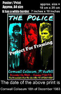 The Police live concert Cornwall Coliseum 18 December 1983 A4 size poster print