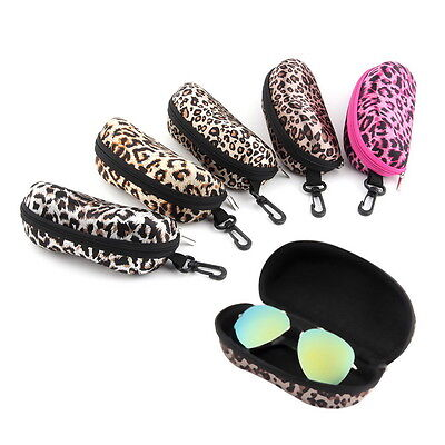 Portable Leopard Zipper Eye Glasses Sunglasses Shell Hard Case Protector Box GH