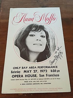 Anna Moffo Autographed Poster San Francisco Opera House 1972  Concert Signed