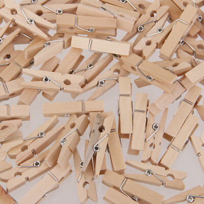 100 Natural Mini Wooden Craft Clothes Pins Peg Wood Crafting Cardmaking 25mm
