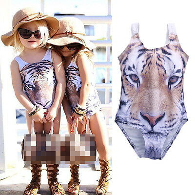 Princess Baby Girls Swimsuit Tiger Face Costume Bikini Suit Swimwear Swimming