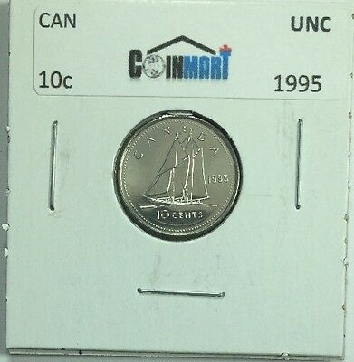 1995 Canadian Ten Cent Coin Uncirculated From A RCM Roll