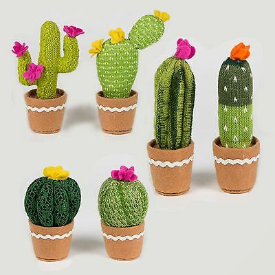 Sass & Belle Colourful Cactus Cacti Knitted Fabric Faux Plant Fun Pot Decoration